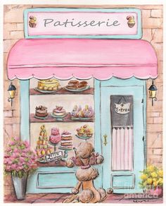 Pink Paris Patisserie Painting by Debbie Cerone