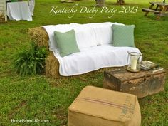haybale sofa and coffee table out of old ammo box  Kentucky Derby Party at www.horsefarmlife.com