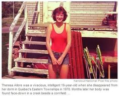 Theresa Allore, a 19-year-old student attending Champlain College in Quebec. After leaving her dorm, she mysteriously disappeared on November 3, 1978. Police and campus officials were not very helpful, believing that Theresa simply ran away on her own, and the college continued to bill Theresa's family for her room and tuition. Theresa was found five months later when her body was discovered in some ice in a small body of water approximately 1 kilo away from her dorm. Her death remains…