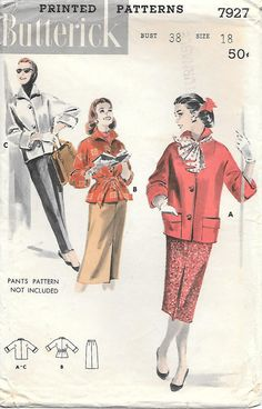 1950s Sporty Jacket and Skirt Butterick 7927 Sewing Pattern, offered on Etsy by GrandmaMadeWithLove