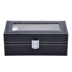 MULTI-FUNCTIONAL SHOWCASE: 4 watch slots with removable velvet pillows which can make room for other accessories, such as necklaces, bracelets, cufflinks, earrings, brooches and other jewelry. LARGE REAL GLASS LID: Real glass lid keeps your watches from dust, and offers you an open view of the displayed watches #watch_box #Watch_Box_Organizer #Best_watch_box #Leather_Watch_Box #Watch_Storage_Box #Best_Watch_Box_India #Watch_Box_for_Men Jewelry Case, Jewelry Watches, Watch Storage Box, Leather Watch Box, Retail Shop, Velvet Pillows, Small Boxes, Other Accessories, Cufflinks