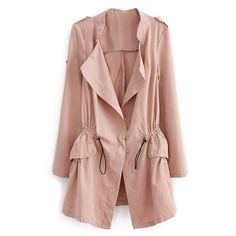Thin Lapel Selt-tied Elastic Pink Suede Trench Coat (110 BRL) ❤ liked on Polyvore featuring outerwear, coats, jackets, tops, button coat, pink trenchcoat, slim fit trench coat, suede leather coat and thin coat