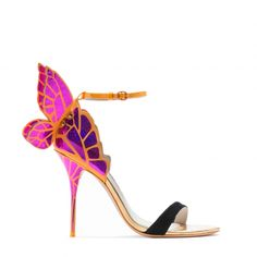Sophia Webster | Pre AW15 | Chiara - Fuchsia, fluoro tangerine and black printed butterfly sandal with black suede toe and ankle strap. 100mm heel. Fits true to size, take your normal size.