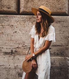 dress & straw bag