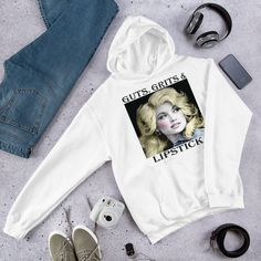 Dolly Parton Shirt // Guts Grits and Lipstick // Dolly Shirt // Tennessee // Country MusicHooded Sweatshirt Dolly Parton Shirt, Shirt Store, Cool Shirts, Tennessee, Trending Outfits, Country, Sweatshirts, Kids, Etsy