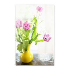 Lois Bryan 'Pink Tulips in Vase' Art