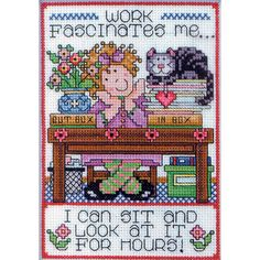 """Work Counted Cross Stitch Kit-5""""X7"""" 14 Count"""