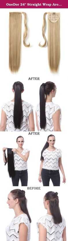 """OneDor 24"""" Straight Wrap Around Ponytail Extension for Woman Synthetic Hair 120g-130g (16hH613). Product: 24"""" Straight Wrap Around Ponytail Extension for Woman Synthetic Hair 120g-130g The Product are made from 100% Korean High Quality Syntheitc Heat-Resistant Fiber, which makes it looks and fells like Real Human Hair. Because it is designed to be easy and comfortable to use, you can easily wear it without any extra help. This product is washable and can be permed. Also you can restyle it..."""