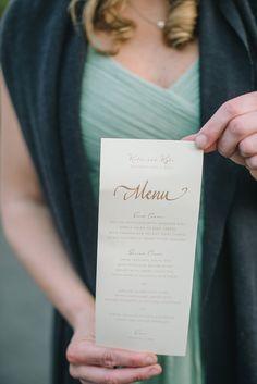 items to be printed - menu card