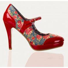 Chaussures Escarpins Pin-Up Rockabilly 50's Mary Jane Fleurs