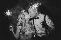 Wedding flower crown Backyard Wedding sparkler send off Photo By Ashley Caroline Photography