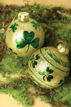 Decorate with pretty shamrock ornaments.  |  Victorian Trading Company