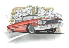 I have always wanted to ddraw a Lowrider, and so here it is - with a special graffiti background. Car Drawings, Cartoon Drawings, Cartoon Art, Automotive Carpet, Automotive Decor, Lowrider Art, Lowrider Drawings, Rockabilly Art, Car Prints