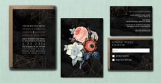Modern Floral Geometric Rose Gold Wedding Suite // DOWN PAYMENT towards Printed Sets // Modern Wedding, Whimsical Wedding, Geometric Wedding