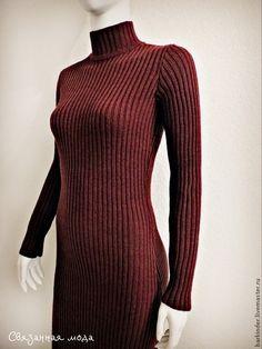 """Вязаное платье-резинка """"Пряное бордо"""" - бордовый,однотонный,платье,платье вязаное"""
