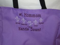 Grandmom Tote Bag with Kid Stick Figures by maggiesembroidery, $20.00