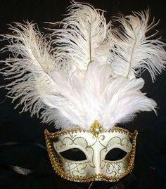 WHITE GOLD JEWELED  MARDI GRAS PARTY MASQUERADE MASK