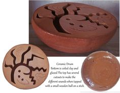clay drum | Hand built red clay ceramic drum. | Artwork from Stonekoyote Design W ...