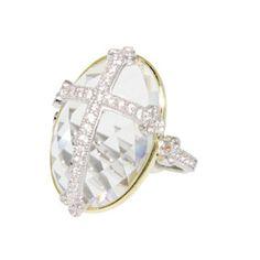 Jude Frances Laguna 18 Karat Yellow Gold & Sterling Silver White Topaz & White Sapphire Guinevere Ring
