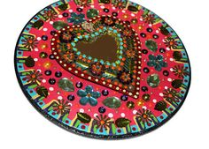 Sacred Heart Mirror//Mexican Tin Mirror by CherryPicks on Etsy
