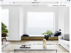 Low window seat/day bed.               http://www.bloglovin.com/frame?post=3021121675&group=0&frame_type=a&blog=2033787&frame=1&click=0&user=0