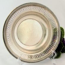 Vintage Sterling Silver Coaster Candy Dish by Farmington Pierced Beaded from Antik Avenue Exclusively on Ruby Lane