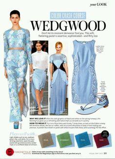 how to wear wedgwood blue - Color Crash course Colour Combinations Fashion, Fashion Colours, Colorful Fashion, Color Combinations, Color Pairing, Color Mix, Instyle Magazine, Fashion Advice, Color Trends