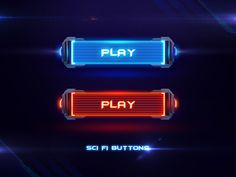 Sci Fi Buttons designed by Olga Ryzhychenko. the global community for designers and creative professionals. Sf Games, Sci Fi Games, Game Gui, Game Icon, Dance Background, Button Game, Neon Logo, Game Ui Design, Space Games