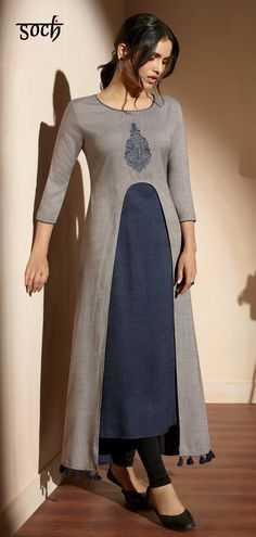 Add this edgy navy blue and grey cotton A-line Kurti paired with black ankle length leggings to your wardrobe and keep the compliments flowing in. This stylish kurti can be worn at parties, bruch and various festivities as well. Simple Kurti Designs, Stylish Dress Designs, Kurta Designs Women, Kurti Neck Designs, Salwar Designs, Kurti Designs Party Wear, Stylish Dresses, Blouse Designs, Stylish Kurtis