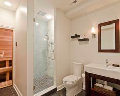 Contemporary bath with sauna  synergyremodel.com