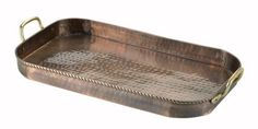 "18 x 10.5 x 1.75 Oblong Antique Copper Tray - This antique copper-finished serving tray with solid brass handles makes a statement as delicious as the food you'll be serving on it. Made hand-hammered iron, antique copper finished with solid brass accents. Generous 18""L x 10½"" x 1¾"" size. Non-tarnishing. Wipe clean. At Home > Kitchenware > Serving Trays. Weight: 7.00"