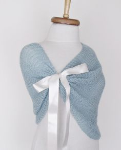 Blue Mohair Bridal Wedding Romantic Capelet by knittingshop