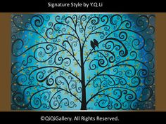 Love birdsPainting Palette KNIFE Tree painting blue by QiQiGallery, $325.00