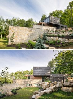 Long walls of stone hide the terraced areas of this home from the front driveway of the house. The rocks used in the landscaping around the home were extracted during excavation.