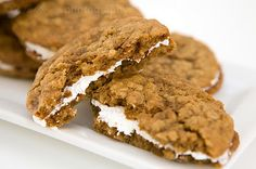 Cookie recipes: Homemade oatmeal cream pie recipe. Don't make these if you don't want to eat them because you will love this gooey goodness!