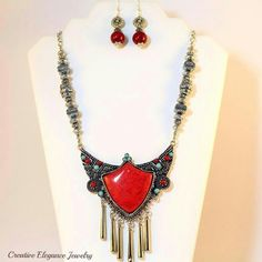 Statement necklace set Red turquoise, statement necklace and earrings set Jewelry Necklaces