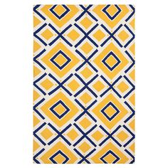 Yellow and navy hand woven rug (blue and gold - need I say more?)