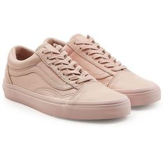 Vans Old Skool Leather Sneakers ($94) ❤ liked on Polyvore featuring shoes, sneakers, pink, leather trainers, genuine leather shoes, vans shoes, real leather shoes and vans trainers