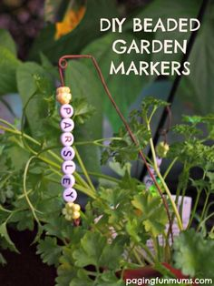 Beaded Garden Markers fun gardening project for kids! is part of garden Art Projects For Kids - These beaded plant markers were so easy to make and look so cute in our veggie patch! Garden Labels, Plant Labels, Garden Art, Garden Plants, Shade Garden, Garden Kids, Preschool Garden, Flowering Plants, Garden Club