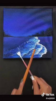 Easy Canvas Art, Small Canvas Art, Easy Art, Canvas Painting Tutorials, Painting Tools, Painting Art, Creative Painting Ideas, Painting Videos, Easy Paintings