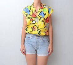 Vintage yellow Picasso shirt by #ZvezdanaVintage on Etsy, $29.00