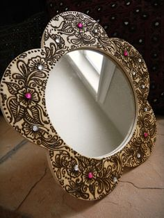 Mirror with Henna Floral Design  One of a Kind by mehndiart09, $50.00