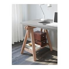 """IKEA - LINNMON / FINNVARD, Table, gray/beech, 59x29 1/2 """", , You can choose a flat or tilted table top, which is good for writing, painting or drawing, by adjusting the trestle.Plenty of room on the shelf under the trestle for your printer, books or papers. That keeps your table top clear so you have more room to work."""