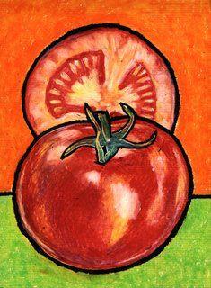 art oil pastel tomato