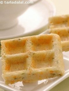 Suggested serving size for 100 calories: 2 pieces  i've given the humble idli-dosa batter a twist. Carrots, coriander and green chillies add oodles of flavour and fibre, making this the yummiest waffle ever!