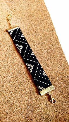 Miyuki beaded cuff bracelet is entirely handmade. Loom Bracelet Patterns, Bead Loom Bracelets, Bead Loom Patterns, Bracelet Crafts, Woven Bracelets, Beaded Jewelry Patterns, Beading Patterns, Bead Loom Designs, Seed Bead Necklace