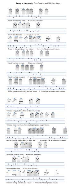 Tears in heaven Eric Clapton Ukulele Tabs Songs, Ukulele Fingerpicking Songs, Easy Guitar Songs, Music Chords, Guitar Chords, Music Lessons, Guitar Lessons, Tears In Heaven, Guitar Sheet Music
