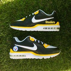 Pittsburgh Steelers Air Max Sneaker by AGcustomSneakers Custom Sneakers, Custom Shoes, Pitsburgh Steelers, Steelers Stuff, Steelers Rings, Air Max Sneakers, Sneakers Nike, Leather Sneakers, Painted Sneakers