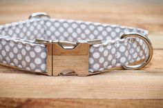 Dog Collar in Gray and White Polka Dots.