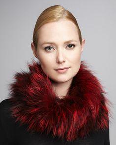Knit Fox Fur Neck Warmer, Red by Adrienne Landau at Neiman Marcus.